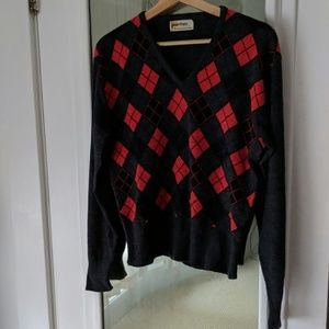 Vintage Slate Gray Wool Blend Red Argyle Sweater